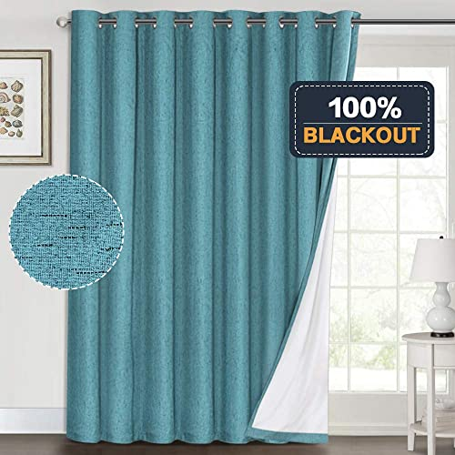 100 Blackout Linen Look Patio Door Curtain 96 Inches Long Extra Wide Thermal Insulated Grommet Curtain Drapes for Living Room Sliding Glass Door, Primitive Winow Treatment Decoration, Teal