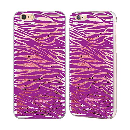Official Cosmopolitan Violet Zebra Animal Skin Patterns Pink Liquid Glitter Case Cover for Apple iPhone 6 / 6s