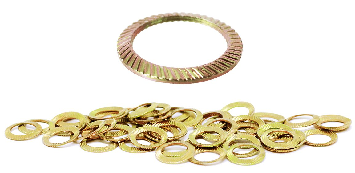 (50pcs) M8 Yellow Zinc Plated SCHNORR Brand Ribbed Safety Spring Lock Washer Metric, BelMetric WSH8YLW