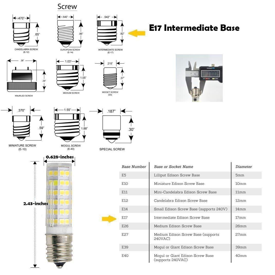 E17 LED Light Bulb 6W Dimmable T7 Microwave Stove Light Bulb,550lm for Microwave Oven Appliance Pack of 2 T7 Intermediate Base Bulb Warm White3000k