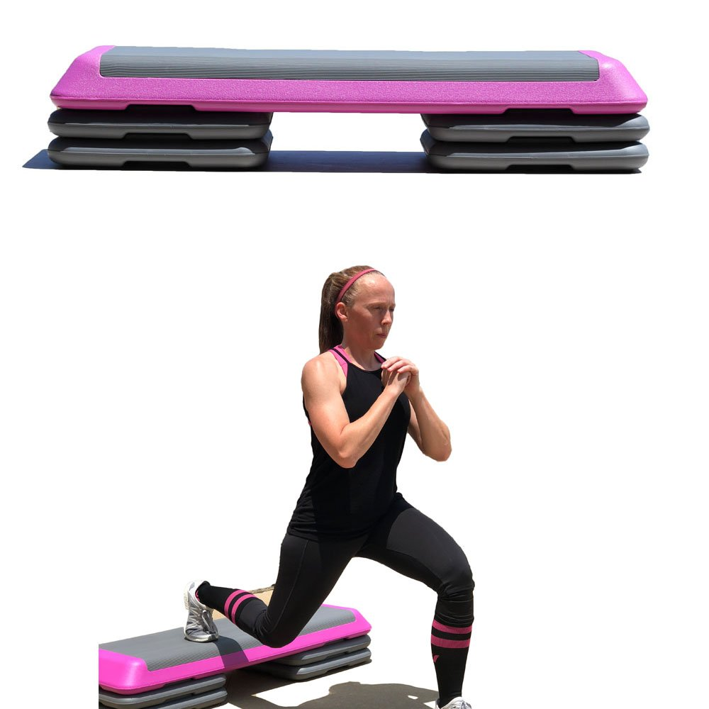 One Strong Southern Girl Aerobic Stepper Platform Fitness Step with 4 Risers, Pink by One Strong Southern Girl