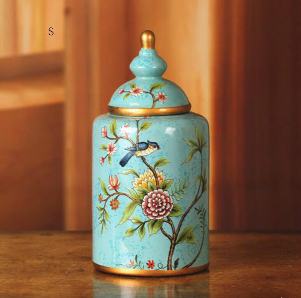 BWLZSP Retro American country hand-painted flower-and-bird ceramic pot home decor crafts soft living room example ornaments (whithout flower) LU615351 (Color : M 1PCS)
