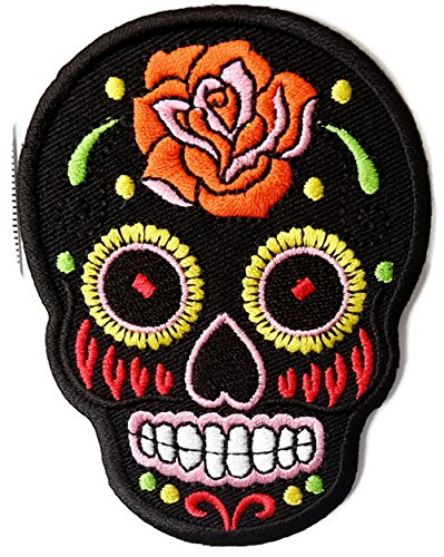 Black Skull Iron on Patch Embroidered Sewing for T-shirt, Hat, Jean ,Jacket, Backpacks, Clothing