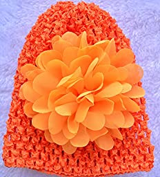 Qandsweet Baby and Newborn Hats with Hair Flower 0-6m (6 Colors)