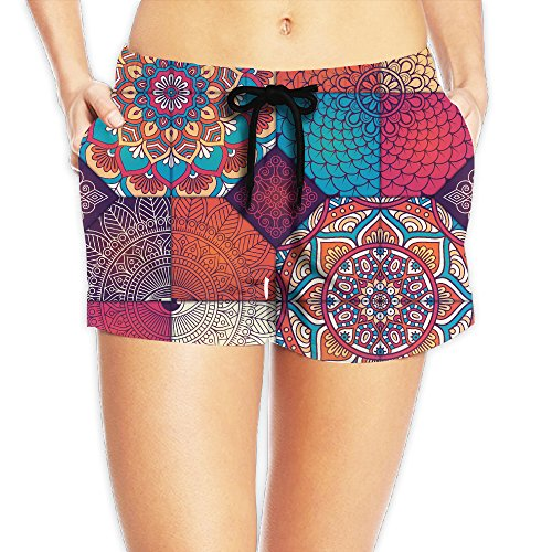 Cute Bohemian Floral Stripes Rash Guard Shorts Stretchy With Liner Dri-power Mid Length Sport Shorts With Pockets For Women
