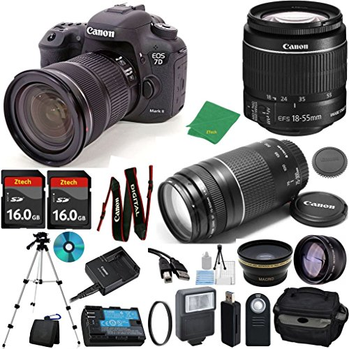 Canon EOS 7D Mark II with 18-55mm IS STM + 75-300 III Zoom + 2pcs 16GB Memory + Case + Memory Reader + Tripod + Starter Set + Wide Angle + Telephoto + Flash + Filter - International Version