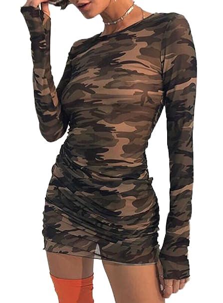 WOZNLOYE Sommer Kleider Damen Freizeit Rundhals Langarm Etui Kleider  Minikleid Wickelkleider Partykleider Sexy Perspektive Camouflage Kurz 5b4dedc46c