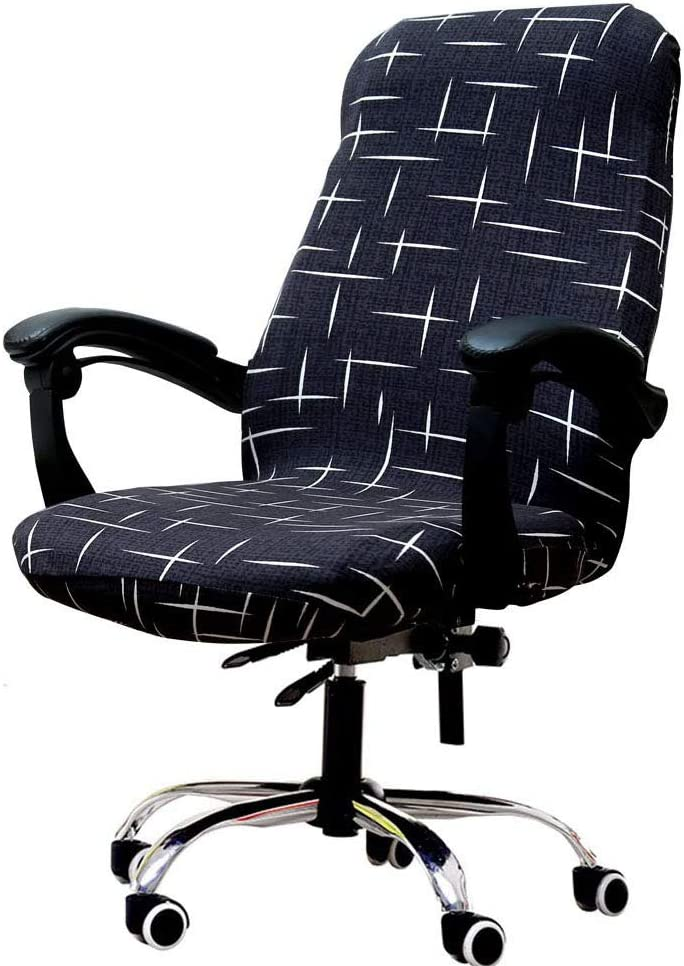 Melanovo Computer Office Chair Covers, Universal Stretch Desk Chair Cover for Rotating High Back Chair (Large Size)