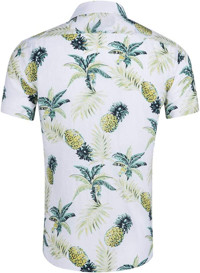 Mens T-Shirt Manches Courtes Chemise Hawa/ïenne Revers Coton Tencel S/érie V/ég/étale Bouton Style Ethnique Boh/ème Fashion Occasionnels dimpression D/Ét/é Tropical Beach
