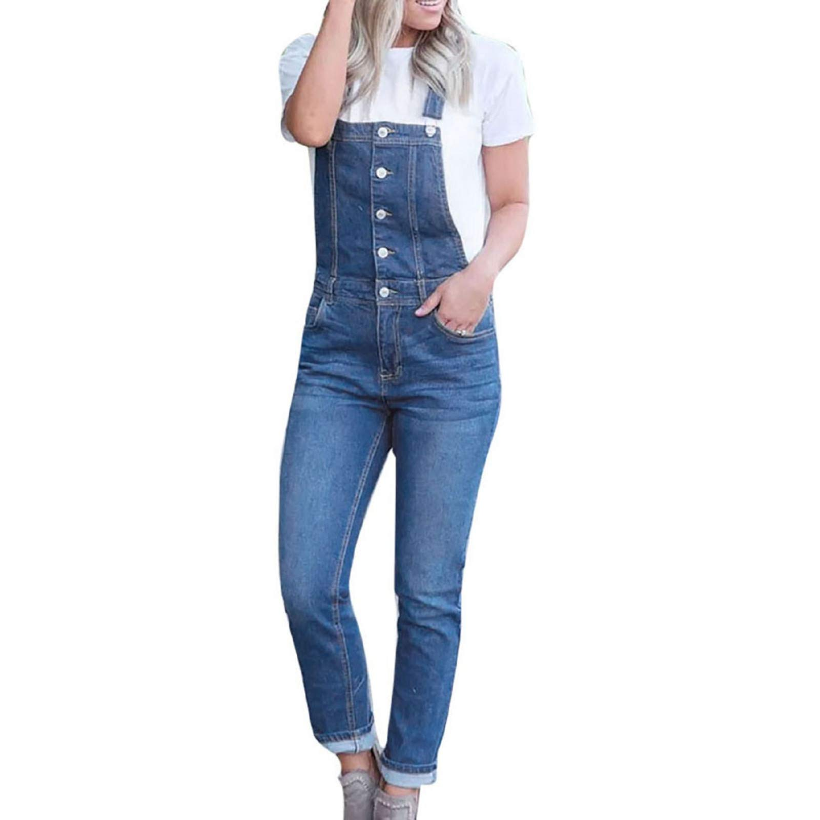 Zainafacai Overalls Jeans for Women Baggy Denim Button Overalls Jumpsuit Sleeveless Romper Harem Jeans Pants