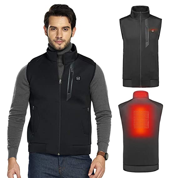 SnowWolf Men Outdoor USB Cotton Heated Vest Electric Thermal Waistcoat Clothing Heating Vest for Sports Hiking Climbing (Men, X-Large) best heated vests for men