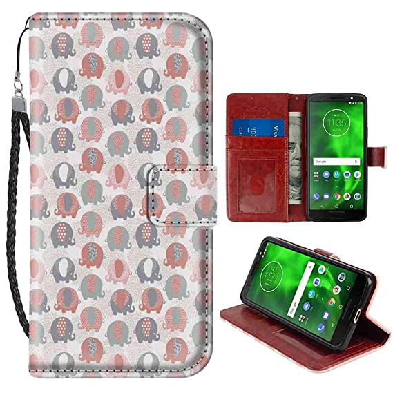 f047386b7 Moto G6 Wallet Case, Elephant Nursery Cute Animal Figures with Ethnic  Styled Culture Motifs Flora