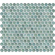 Susan Jablon Mosaics - Penny Round Aqua Blue Iridescent Glass Tile