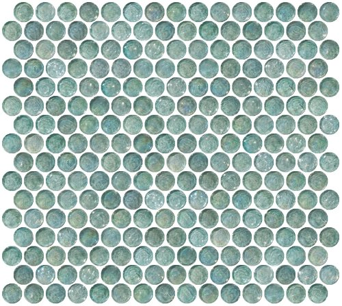 Susan Jablon Mosaics - Penny Round Aqua Blue Iridescent Glass - Glasses Penny