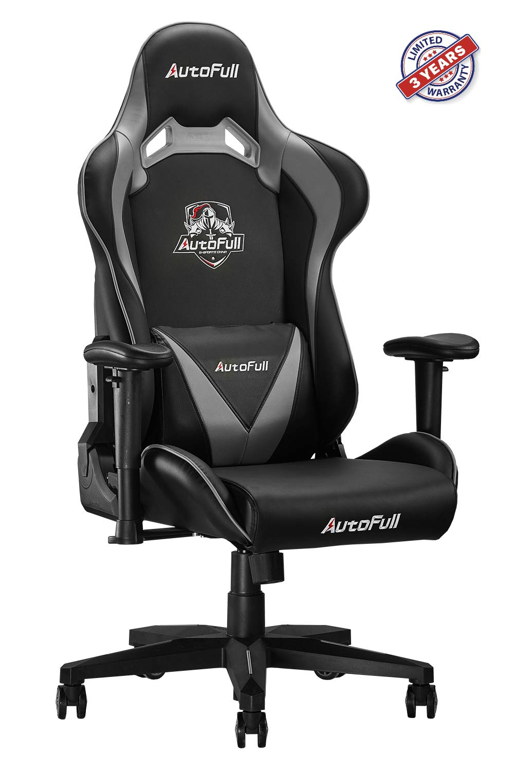 AutoFull Computer Gaming Chair - Adjustable Reclining High-Back PU Leather Swivel Game Chair with Headrest and Lumbar Support (PU, B-Grey)
