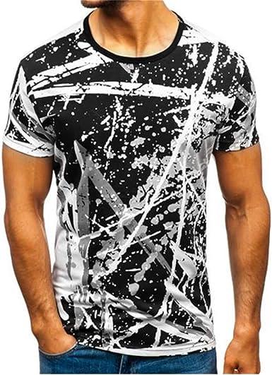 Camiseta de Hombre Tallas Grandes Verano, Camisa de Manga Corta de Solapa de la Moda del patrón de Rayas Degradado de los Hombres: Amazon.es: Ropa y accesorios