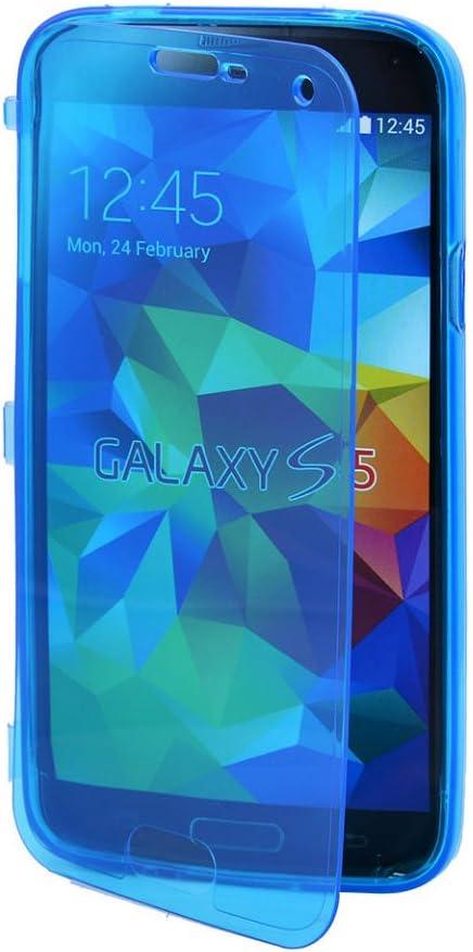 Vktech - Funda Estuche TPU Silicona Con Tapa Transparente Para Samsung Galaxy S5 I9600 (Azul): Amazon.es: Electrónica
