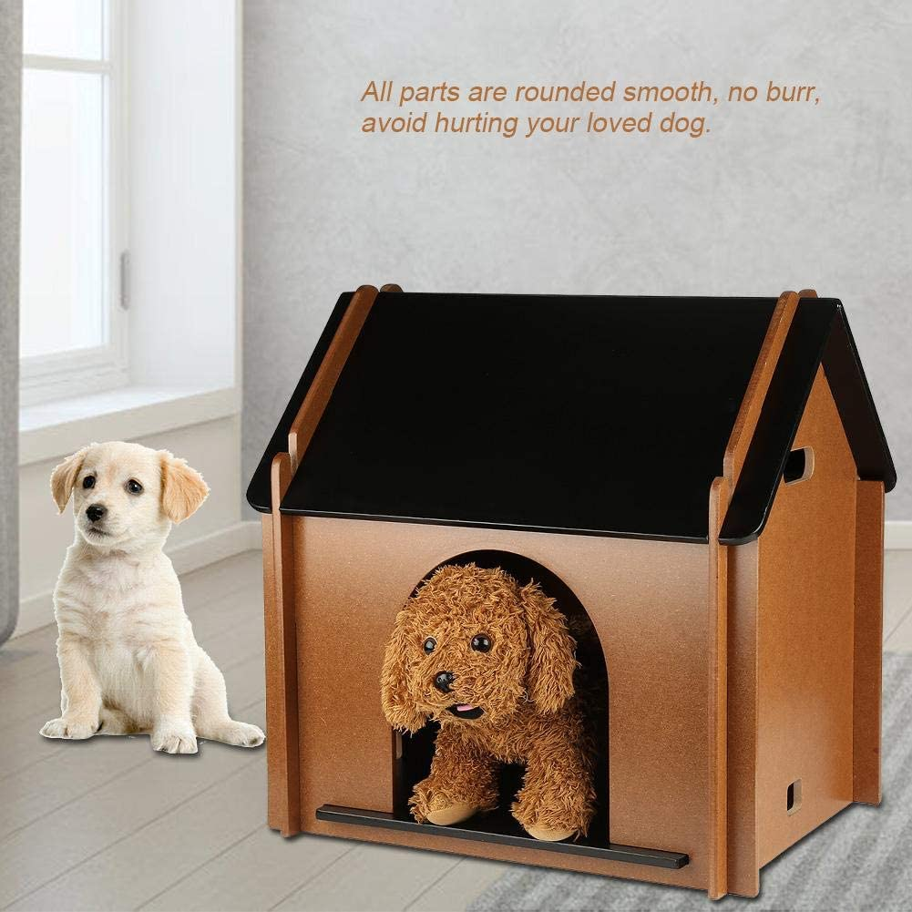 Ejoyous Foldable Pet House Easy to Assemble Wooden Dog House Cat Kennel Puppy Shelter for Home Indoor Outdoor Backyard