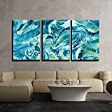 """wall26 - 3 Piece Canvas Wall Art - Abstract Background on the """"Sea Water"""" - Modern Home Decor Stretched and Framed Ready to Hang - 16""""x24""""x3 Panels"""