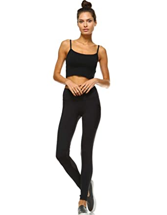 48c962183898c Mono B Women's Performance Activewear - Yoga Leggings with Sleek Contrast  Mesh Panels (Large,