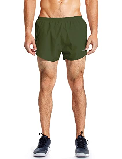 34d58568b08 Baleaf Men's Quick-Dry Lightweight Pace Running Shorts Army Green Size S
