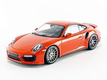 Minichamps 110067120 1: 18 2016 Porsche 911 Turbo S Car, Orange