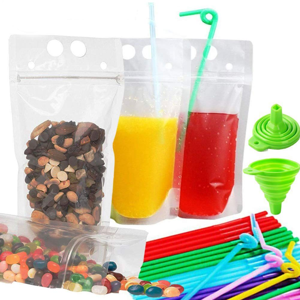 Zipper Drink Bag Clear Stand-Up Plastic Pouches Bags with Drink Straws, Heavy Duty Hand-Held Translucent Reclosable Heat-Proof Bag 2.5 Bottom Gusset by Shelling Home
