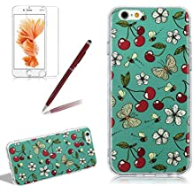 Soft Silicone TPU Case Cover For Iphone 6 6S PLUS, Girlyard Fruit Creative Design Fresh Cherry White Daisy Flower Flying Butterfly Bee Flexible Rubber Ultra Slim Anti-Shock Protection Phone Case Cover
