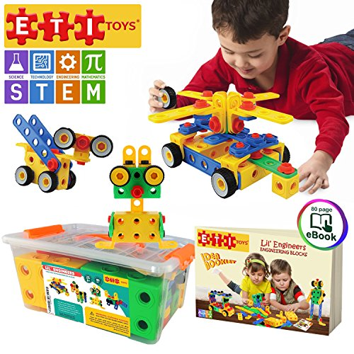 ETI Toys | STEM Learning | Original 101 Piece Educational Construction Engineering Building Blocks Set for 3
