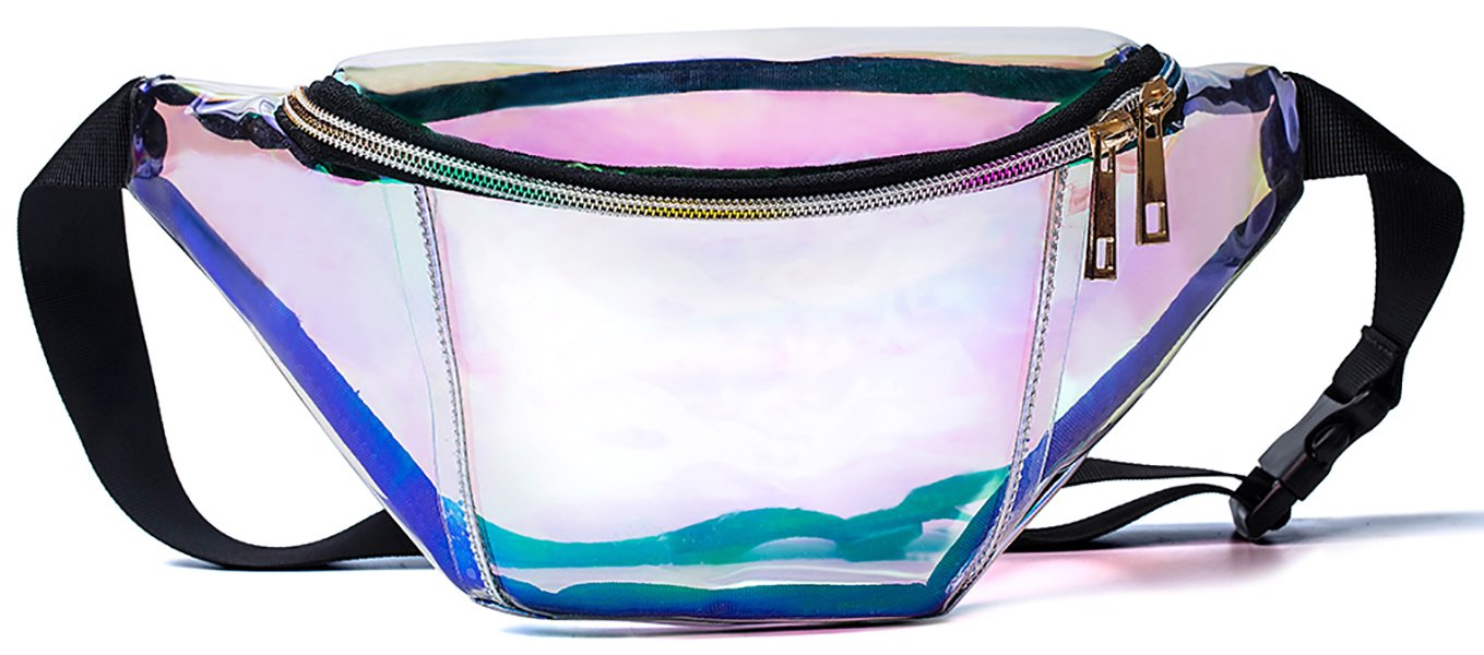 Leotruny Holographic Fanny Pack for Festival, Party, Travel (Iridescent)