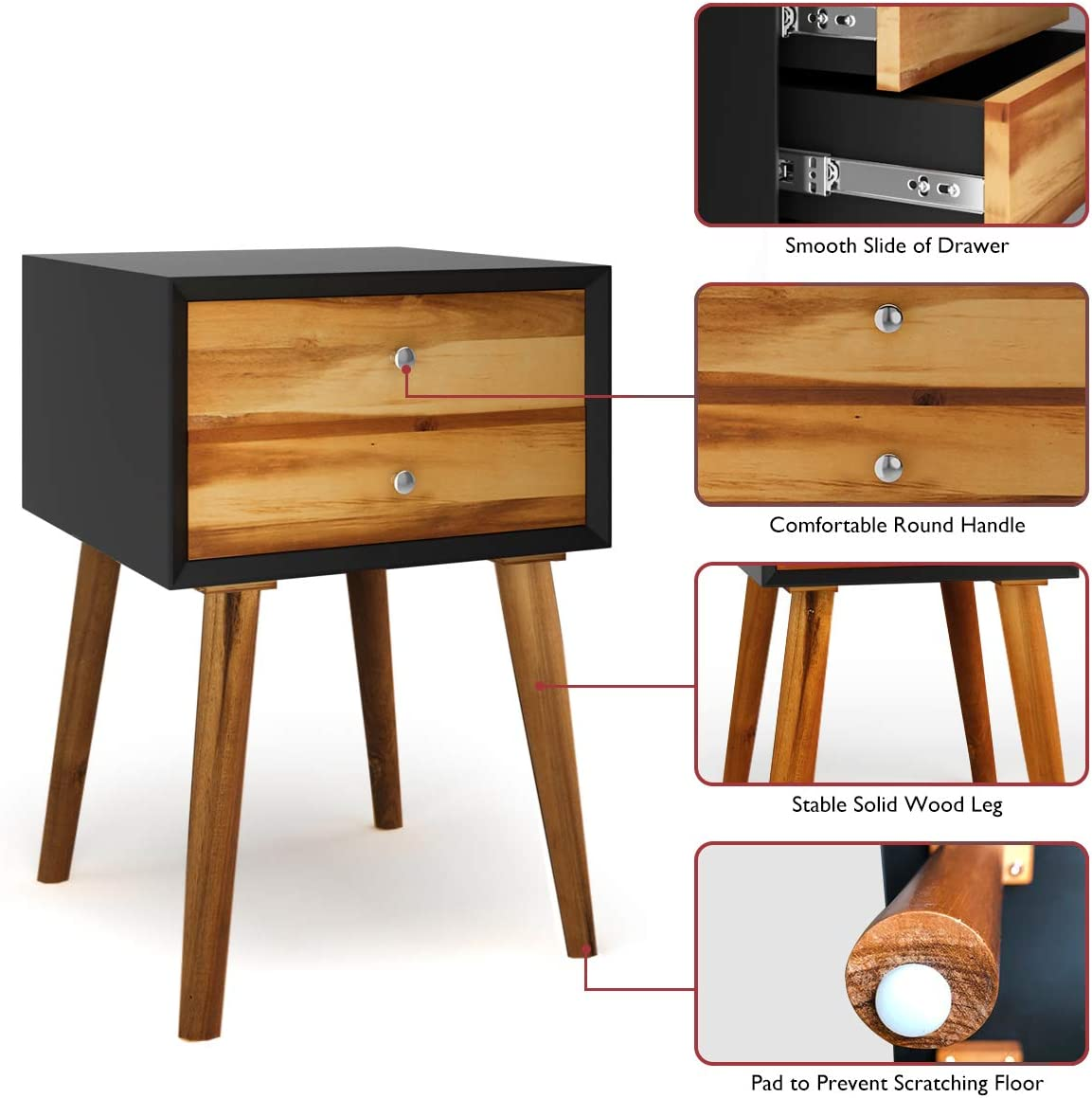 Giantex Nightstand Wooden End Table Bedside Table W/2 Glide Sliding Drawers, Mid-Century Accent Multipurpose for Bedroom, Living Room Storage Cabinet Home Furniture End Side Table (1)