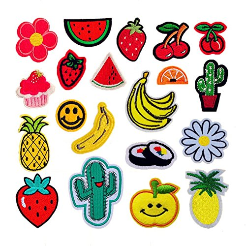AFSTUP 20Pcs Fruit Embroidered Appliques Sew Iron On Patches Solid Mixed Watermelon Cherry Pineapple Cactus Ice Cream Banana Cocktail Cactus (Cabbage Patch Costume For Adults)
