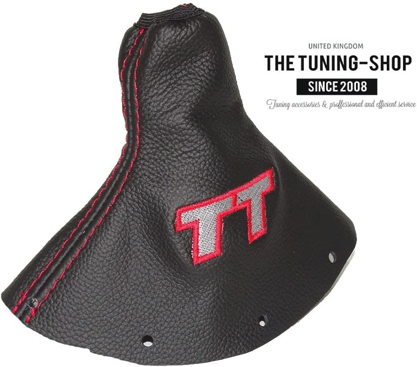 The Tuning-Shop Ltd Fits Audi TT Mk1 1998-2006 Shift Boot Custom Made Shift Boot Black Genuine Italian Leather with Red Stitching Embroidery Quattro