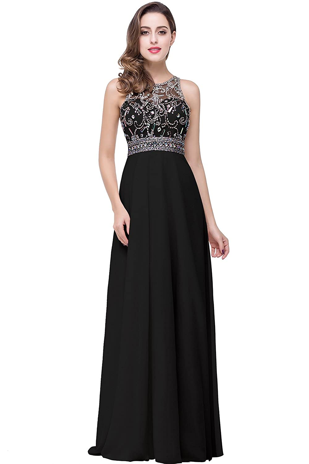 3f1a3e8fa9e MisShow Women s Long Prom Dresses Scoop Neckline Beaded A Line Evening  Gowns at Amazon Women s Clothing store