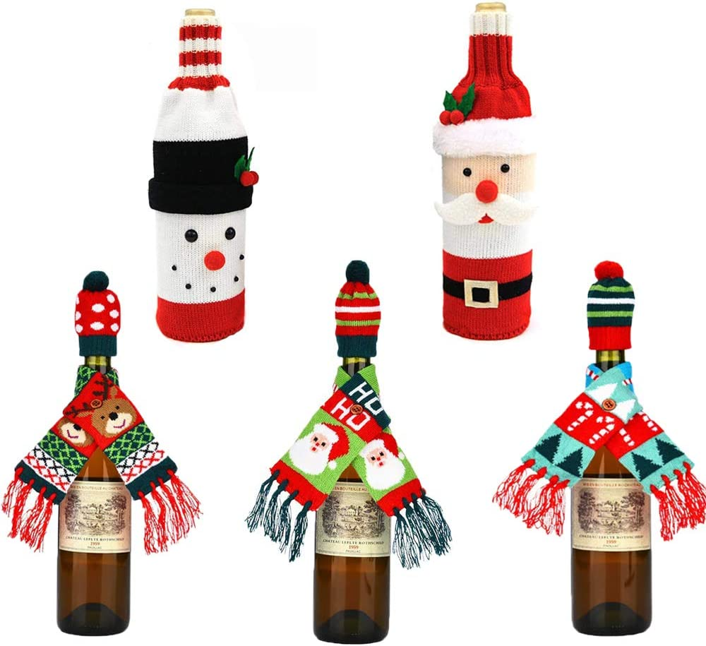 Ugly Sweater Christmas Wine Bottle Covers Handmade Holiday Santa Claus Wine Bottle Sweater Decor Bag with Hat Toppers for Christmas Dinner Party Table Decorations Gift