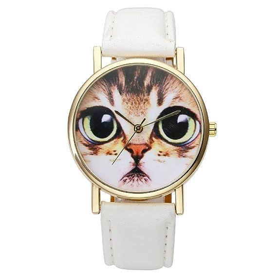 jsdde Relojes, Fashion Mujer Reloj De Pulsera lieblich Gatos Cara Reloj de pulsera diseño de piel pulsera analógico de cuarzo reloj, Blanco: Amazon.es: ...