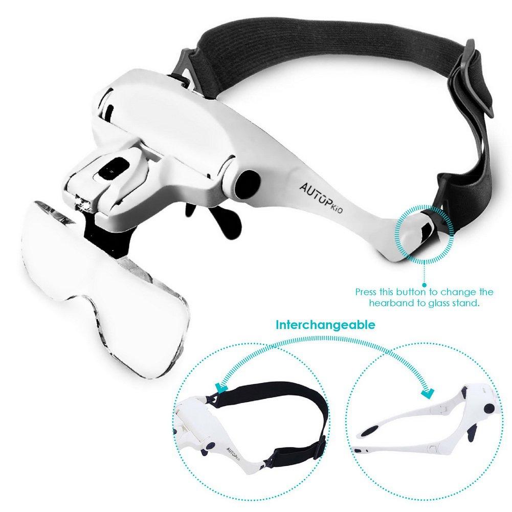 2.5X artigianato 3.5X intercambiabili 5 Lenti 1.0X AUTOPkio lenti dingrandimento 2.0X 1.5X regolabile mani libere auricolare Magnifier con 2 Headset LED fascia Occhiali per la riparazione