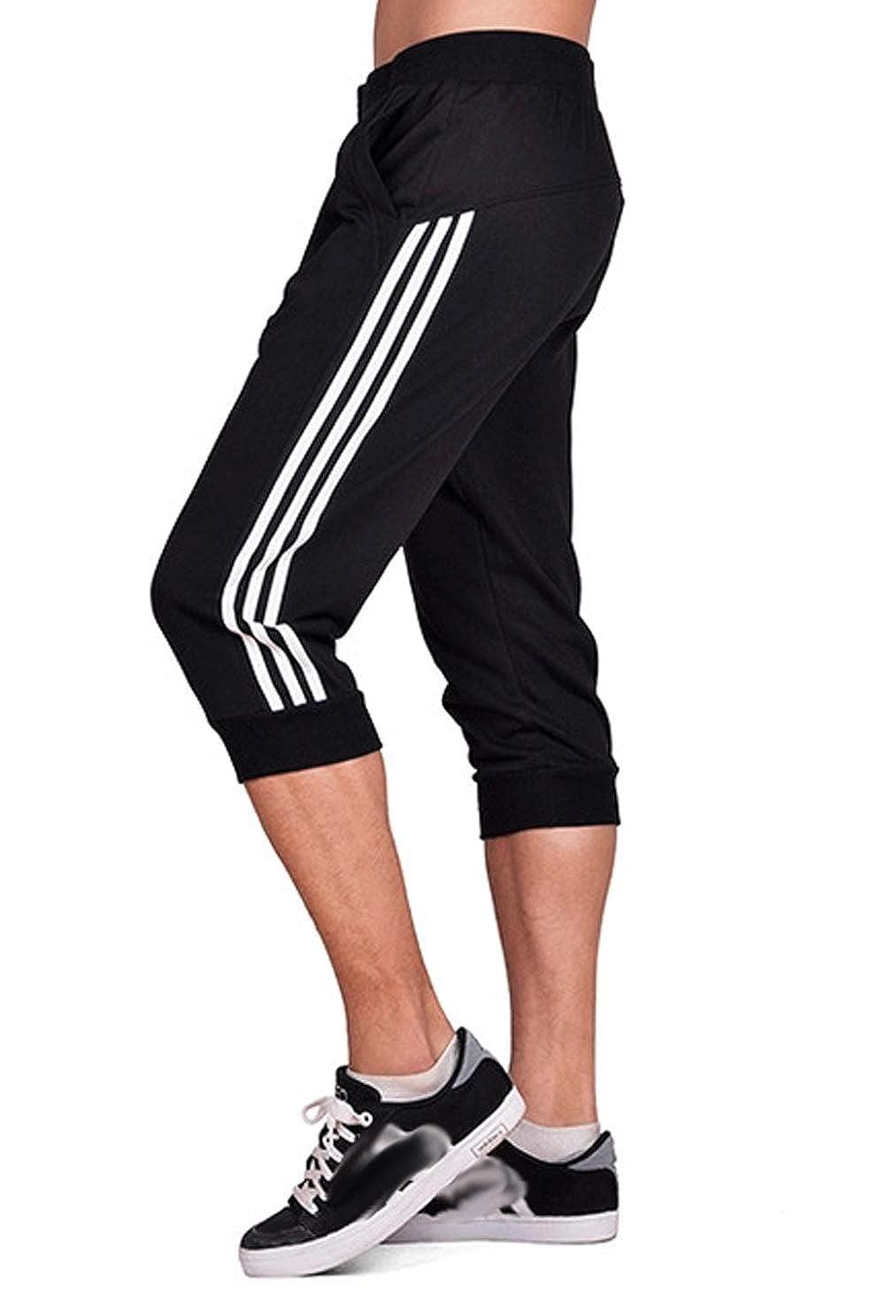 Anikigu Hombre Pantalones Cortos Jogging Bolsillos Deportivo Casual Deporte Pantal/ón Chandal de Hombre Fitness Jogging 3//4 Longitud