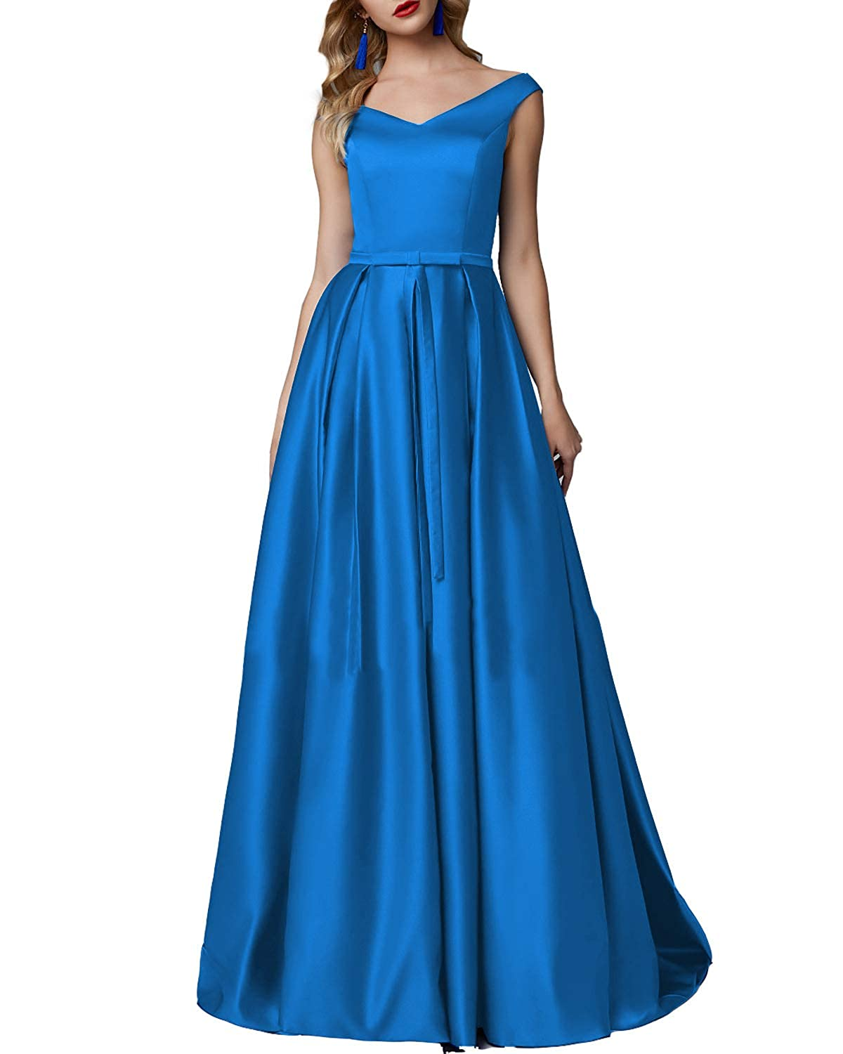 bluee CCBubble Long Satin Prom Dresses Aline V Neck Sleeveless Formal Evening Wedding Party Gowns