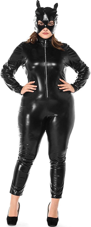 Vestido De Charol Club De Gran TamañO Mono De Cuero Negro Traje De Locomotora Catwoman De Cuero Barra De Halloween De La Chaqueta De Las Mujeres Del Partido