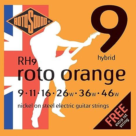 Rotosound RH9 - Juego de cuerdas para guitarra eléctrica de níquel, 11 16 26 36
