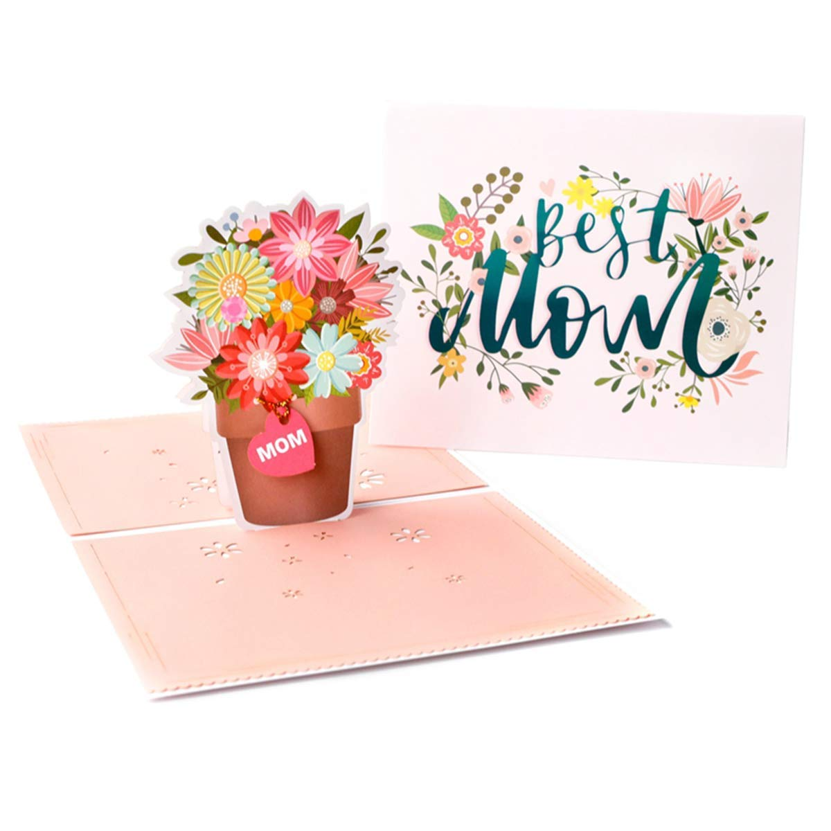 Wecamture Mothers Day Pop Up Card with Envelope – Best Mom- 3D