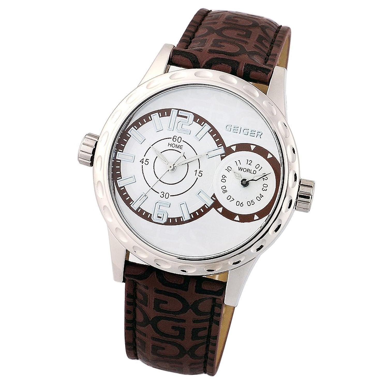 Geiger日本ユニセックスアナログクオーツMovement本革Bandメンズレディースホワイトダイヤル腕時計ge1105wtbr B00KBYPPR8