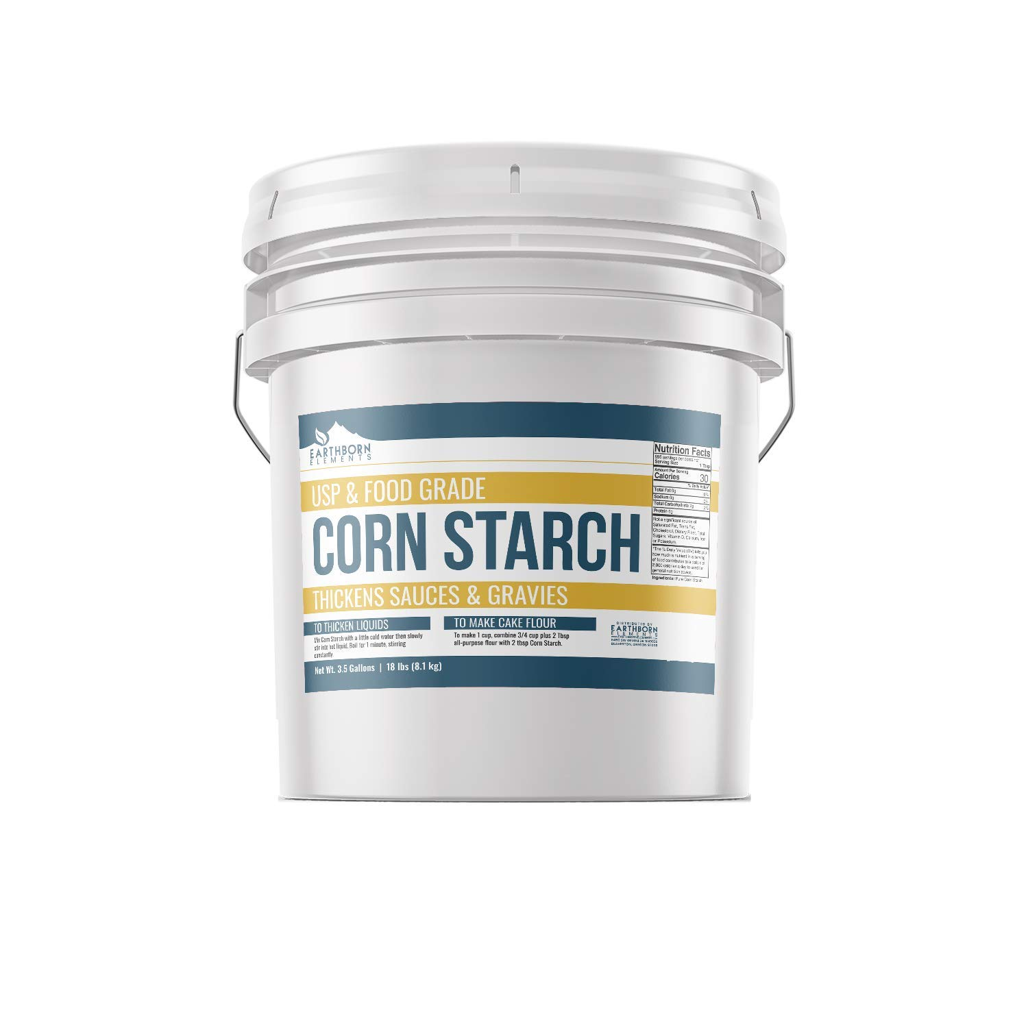 Corn Starch (3.5 Gallon (18 lb.)) by Earthborn Elements, Resealable Bucket, Thickener For Sauces, Soup, & Gravy, Highest Quality, All-Natural, Kosher, USP & Food Grade, Vegan, Gluten Free by Earthborn Elements