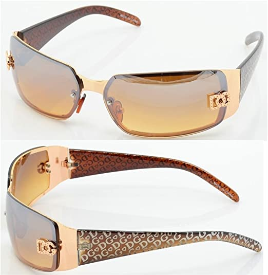 DG Mens Womens Gold Brown Sunglasses Shades Rectangular Full Rim Designer