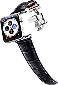 Longvadon Men's Caiman Series Watch Band - Compatible with Apple Watch 42MM (Series 1-3) & 44MM (Series 4-5) - Genuine Top Grain Leather - Midnight Black & White Stitching w/Silver Details - M Size