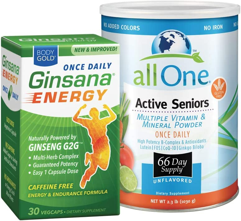 allOne Multi Vitamin Mineral Powder for Seniors Body Gold Ginsana Energy Bundle 66 Multivitamin 30 Energy Servings