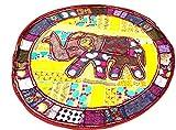 RAJASTHANI DECORATIVE ELEPHANT ROUND MUDDA/OTTOMAN/STOOL COVER