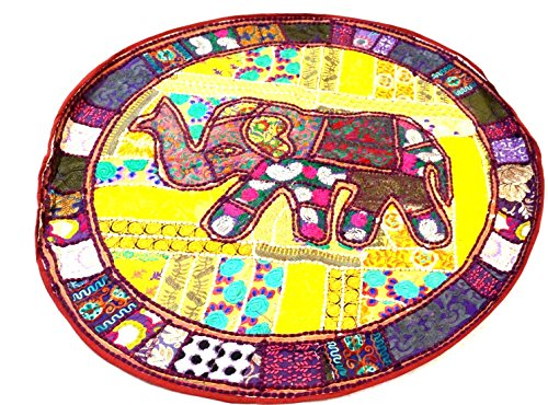 RAJASTHANI DECORATIVE ELEPHANT ROUND MUDDA/OTTOMAN/STOOL COVER by Healing Crystals India