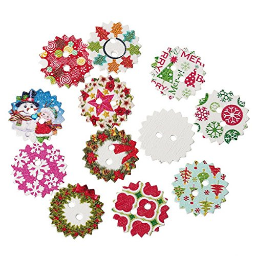 HOUSWEETY 100PCs Mixed Wood Sewing Buttons Christmas Pattern Scrapbooking 24mm